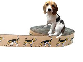 """1m Webband """"Beagle"""" Borte Hund, 20mm breit, beige"""