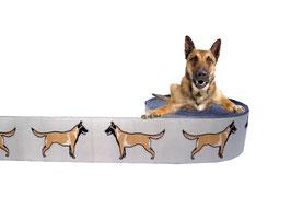 1m Malinois Webband Borte Hund, 25mm breit, beige