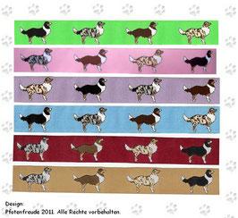 1m Australian Shepherd Borte Webband Hund, verschiedene Farben