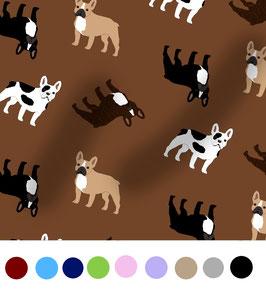 Französische Bulldogge Hunde Stoff, Baumwoll-Jersey, viele Farben