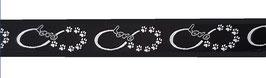 1m Pfotenliebe Webband Borte Hund, 16mm breit, schwarz-silber