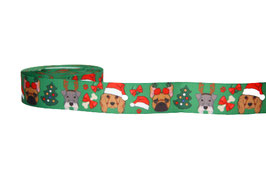1m Comic-Hunde Weihnachtsborte Motiv 2, grün, 22mm breit