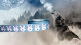 1m Wolf Portrait Borte blau, 25mm breit