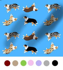 Australian Shepherd Hunde Stoff, Baumwoll-Jersey, viele Farben