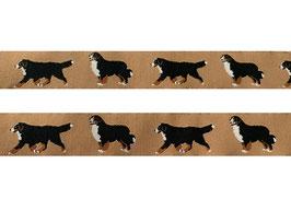 1m Berner Sennenhund Webband Borte Hund, 25mm breit, beige