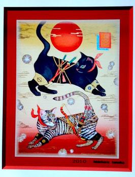 浮世忍者猫 赤月黒猫幽玄ノ図