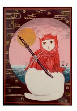 赤ずきんをかぶった白猫忍者猫