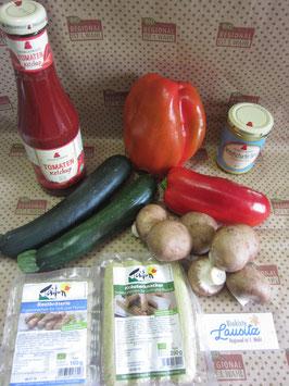 Bio Grillkiste Grillgemüse + Senf & Ketchup + 2x Tofu-Bratwurst