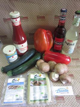 Bio Grillkiste maxi mit Grillgemüse + Senf & Ketchup + 2x Tofu-Bratwurst + 2 Limonaden