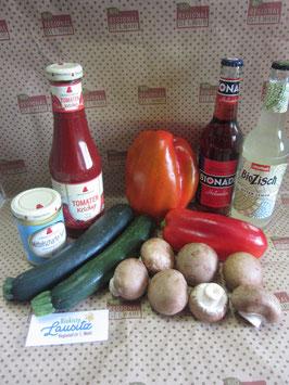 Bio Grillkiste mit Grillgemüse + Senf & Ketchup + 2 Limonaden