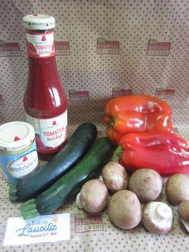 Bio Grillkiste Grillgemüse + Senf & Ketchup