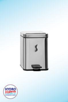 """Pattumiera """"Cube"""" forma quadrata 5 litri a pedale in esclusivo Acciaio inox AISI 430 con finitura brillante"""