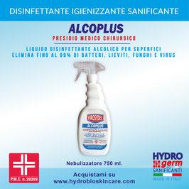 Disinfettante Professionale Alcoplus con PMC - Nebulizzatore 750ml. Sanificante concentrato per superfici. Elimina fino al 99,9% di batteri, lieviti, funghi e virus con involucro.
