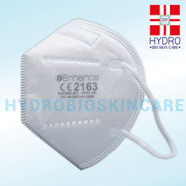 Mascherina protettiva FFP2 monouso anti Covid-19. E' un DPI a 5 strati certificata CE 2163. Capacità filtrante standard FFP2 95% materiale TNT. Senza valvola con elastico alle orecchie.
