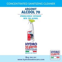 Professional sanitizing nebulizer for high traffic surfaces with hydroalcoholic detergent with 70% alcohol