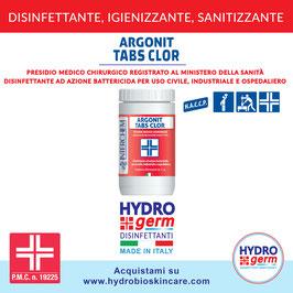 Pastiglie al cloro disinfettanti Argonit Tabs Clor ad azione battericida per uso civile, industriale e ospedaliero registrate al Ministero della Sanità