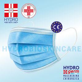 Mascherina Chirurgica Certificata Omologata CE Monouso DPI per Coronavirus Covid-19 - Hydrogerm Enhance in Confezione da 50pz oppure venduta in confezione sigillata da 10pz.