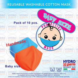 Hydrogerm baby size washable precautionary mask - Package 10pcs. Reusable with antibacterial treatment