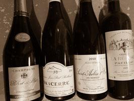 4 Flaschen aus Frankreich entdecken von der Champagne über Loire/Burgund nach Bordeaux