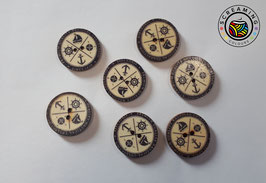 Holzknopf Schiff & Kompass