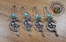 Maschenmarkierer Fee mit blauer Perle 4 St.