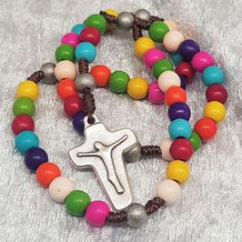 Rosenkranz aus Howlithsteine, modernes Rosenkranzkreuz, silberfarben