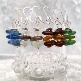 "Ohrringe ""Pulverglas"", Creolen, Ohrhänger, 925er Silber [optionen]"
