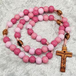 Rosenkranz mit rosafarbenen Holzperlen, Olivenholzkreuz - Einzelstück [optionen]