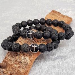 Lava Armband mit einer Kreuzperle aus Edelstahl [optionen]