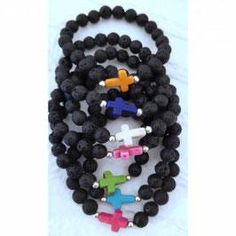 Christliche Armbänder mit Howlithkreuz, 925er Silberperle