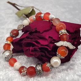 Armband aus einem Perlenmix in Orange, Edelsteine, Schutzengel