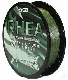 Леска плетёная RYOBI PE RHEA 8* 120m d-0.203 #11.0kg Dark green