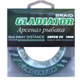 Леска плетёная Gladiator PE х4 100m d-0,18 dark green