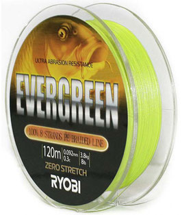 Леска плетёная RYOBI PE EVERGREEN 8* 120m d-0.234 #14.0kg Yellow
