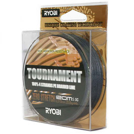 Леска плетёная RYOBI PE TOURNAMENT 4* 120m d-0.203 #10kg Grey