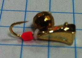 Мормышка каблук (латунь)-латунный граненный шар(в)- 0.6 гр