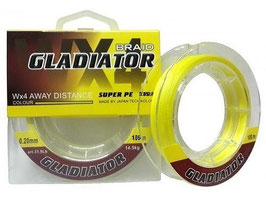 Леска плетёная Gladiator PE х4 135m d-0,25 yellow