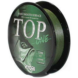 Леска плетёная RYOBI PE TOP 4* 120m d-0.165 #8.0kg Dark green