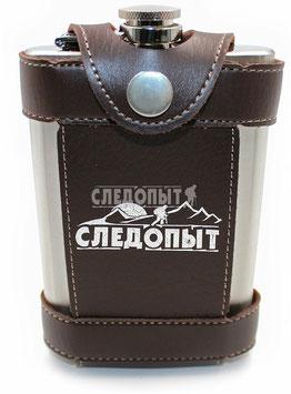 Фляжка «СЛЕДОПЫТ - Freezly» в кож. чехле, 180 мл, цв. корич/100/