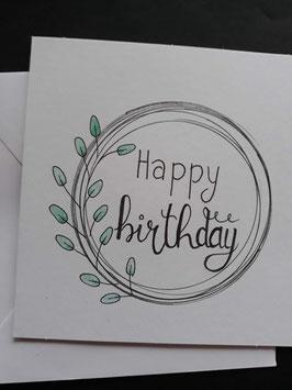 Happy Birthday cirkel met blaadjes
