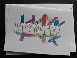 Happy Birthday gekleurde strepen