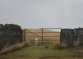 September - Cornfield, sheep on the wrong side of the gate