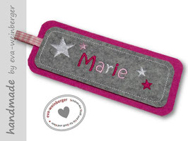 Lesezeichen Sternenmix •Einmerkerl • pink/hellgrau
