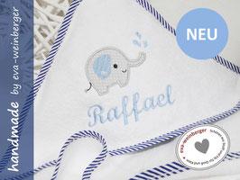 Kapuzenhandtuch Baby • Elefant • weiß/Rand gestreift Elefant hellgrau/hellblau Name Brody hellblau unten