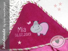 Kapuzenhandtuch • Babybadetuch kleines Nilpferd (Musterfot pink, Rand gestreift Nilpferd rosa/hellgrau Name/Dat. uni rosa Boffo Dak)