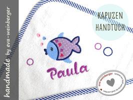 Kapuzenhandtuch • Name •Fisch Geschenk Baby Taufe Geburt Musterfoto: weiß/rand d-blau gestreift Fisch Flieder/Dunkelblau/Hellblau Kapellka vio