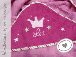 Babybadetuch • Prinzessin • Krone  pink Schönschrift Krone rosa/vichy rosa Sterne mai/rosa/weiß Name rosa Schönschrift