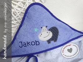 Kapuzenhandtuch • Babybadetuch kleines Nilpferd hellblau/dunkelblau STern mint Nilpferd dunkelblau/hellgrau Name Kristin ITC dunkelblau