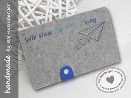 Reisepasstasche • Travelorganizer •  Dokumentenmappe • Filz  • Geschenk zur Hochzeit hellgrau Lasche königsblau, Stick dunkelblau, türkisblau, hellblau