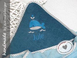 Kapuzenhandtuch • Kleiner Wal • Name Geschenk Baby Taufe Geburt Musterfoto: mint/cadet Wal t-blau/weiß Name t-blau uni Boffo Dak